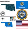 map oklahoma with seal vector image vector image