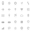 Mobile phone line icons with reflect on white vector image vector image