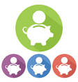 piggybank flat long shadow vector image