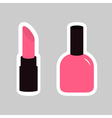Pink lipstick nail polish sticker on gray vector image vector image