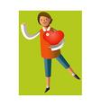 Portrait of boy holding heart shape vector image vector image