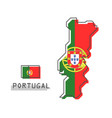 portugal map and flag modern simple line cartoon vector image vector image
