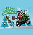 santa riding motorcycles vector image vector image
