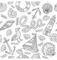 sea theme seamless pattern in doodle boho style vector image