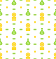 Seamless Pattern with Money Bag Bank Notes Coins vector image vector image