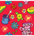 tea time floral print vector image