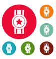 award ribbon icons circle set vector image