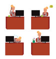 young and beautiful businesswoman sitting at vector image