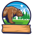 bear mascot with background