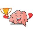 boxing brain character cartoon mascot vector image vector image