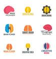 brain innovation logo set flat style vector image vector image