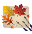 Brushes with autumn colors vector image vector image
