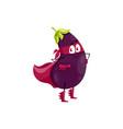 cartoon eggplant super hero isolated icon vector image vector image