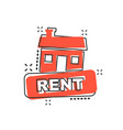 cartoon rent house icon in comic style rent sign vector image vector image