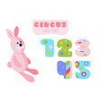 cartoon style numbers 1 2 3 4 5 and pink rabbit vector image vector image