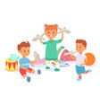 child character play with paper airplane drum vector image