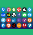 circle colored social icon pack image vector image vector image