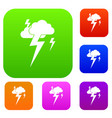 cloud and lightning set collection vector image
