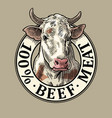 cows head 100 percent beef meat lettering vector image