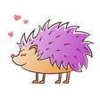 cute lilac hedgehog vector image vector image