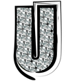 Diamond Font letter U vector image vector image