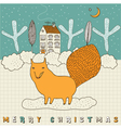 Doodle Fox Christmas Card vector image