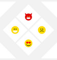 flat icon gesture set of pouting grin love and vector image vector image