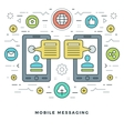 Flat line Mobile Messaging Social Network Concept vector image