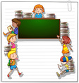 Frame with kids and a blackboard vector image vector image