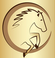 gold horse symbol background vector image vector image