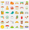 great city icons set cartoon style vector image vector image