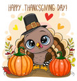 greeting card with turkey bird vector image