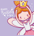 happy birthday with cute fairy card vector image vector image