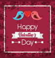 happy valentines day couple birds heart poster vector image vector image