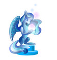 ice statue of winged fantasy animal isolated vector image vector image