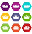 king crown icons set 9 vector image vector image
