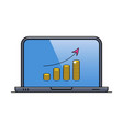laptop with financial diagram on screen vector image vector image