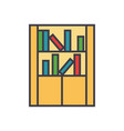 library furniture bookcase flat line vector image vector image