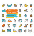 linear icons on theme child care feeding vector image vector image