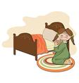 little girl is preparing for sleep vector image vector image