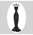 Long evening dress black on hangers vector image vector image