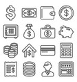 money and banking icon set line style vector image