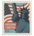 postage stamp with statue liberty and flag usa vector image vector image