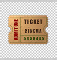 realistic vintage retro cinema ticket isolated vector image vector image