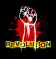 revolution retro poster with raised fist vector image vector image