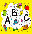 school beginnings abc letters doodle style on vector image