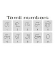 set monochrome icons with tamil numbers vector image vector image