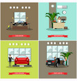 set of car shop posters in flat style vector image vector image