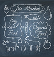 set of eco food lettering and icons on chalkboard vector image