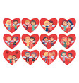 set of hearts with boy girl couples wings on back vector image